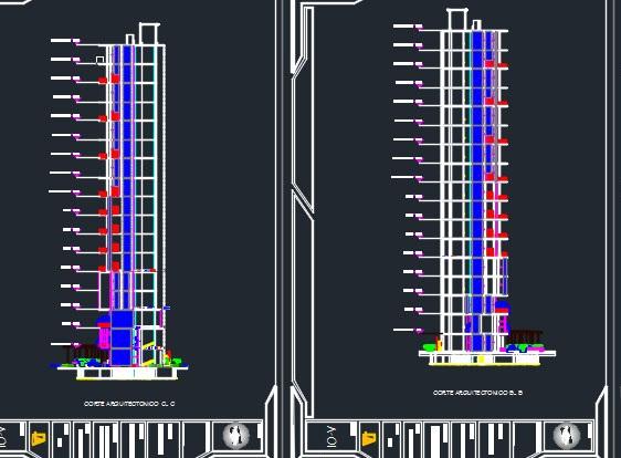 نقشه معماری برج تجاری مسکونی ۱۵ طبقه با اتوکد