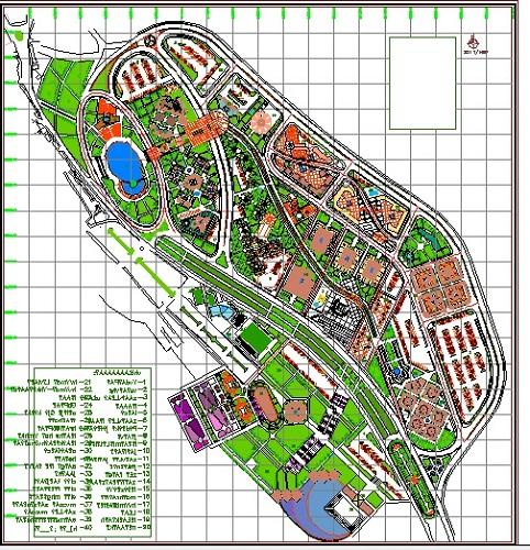 نقشه اتوکدی مجموعه تفریحی توریستی و اقامتی